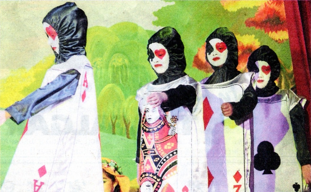 The deck of cards marching onto the stage as all the characters are briefly introduced at the beginning of the musical